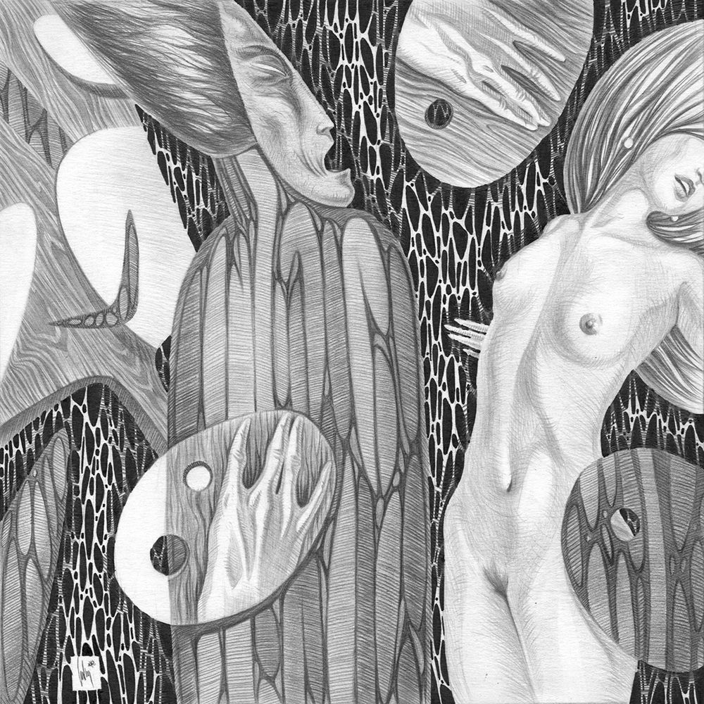 The artist painting nude fell into a creative stupor