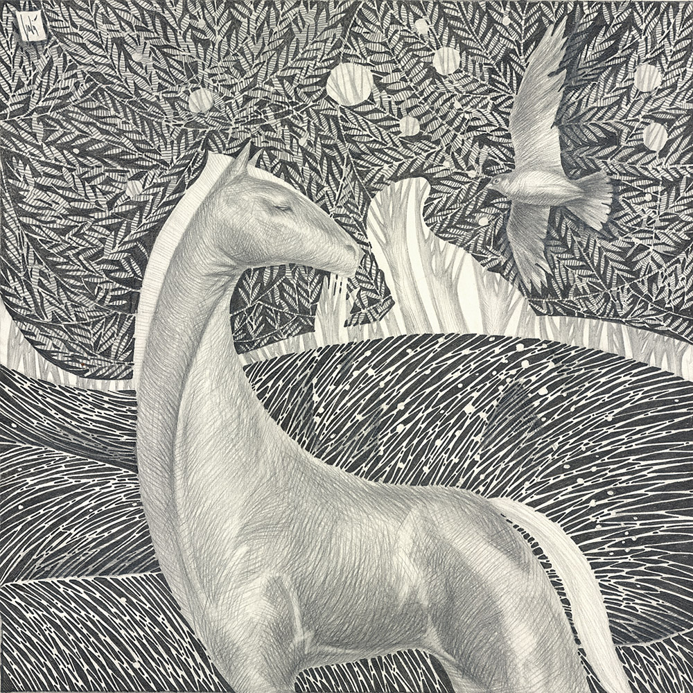 The horse senses the ghost of the deceased owner, which touches his muzzle