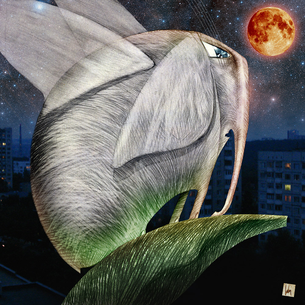 A sad flying elephant stands under the moon on a hill