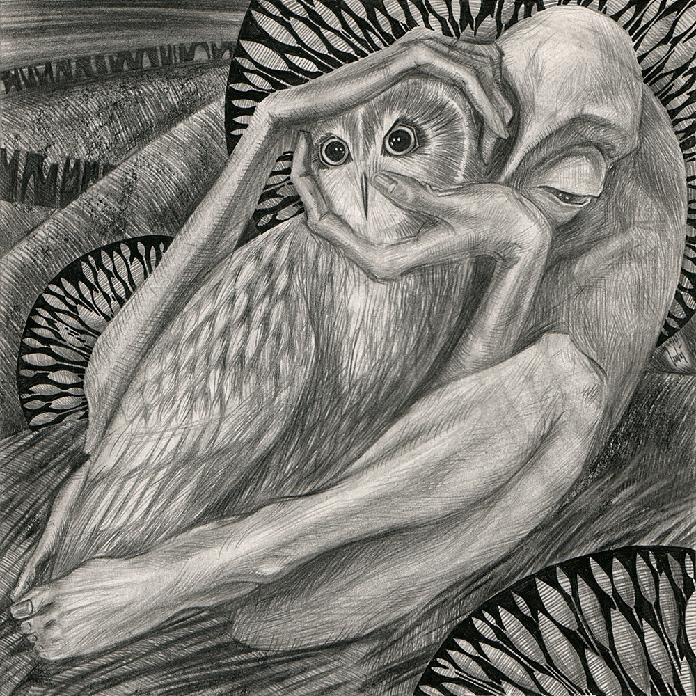 The creature holds the head of an owl hiding behind a bush at night