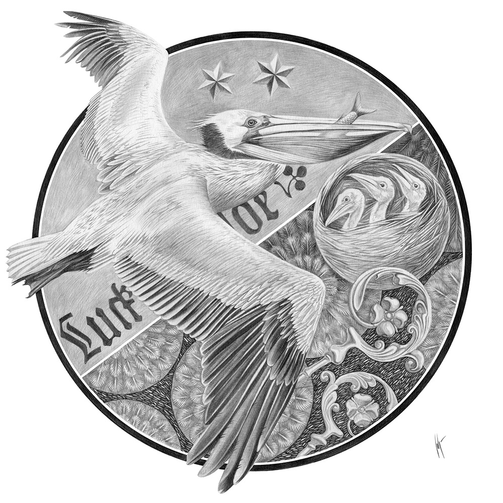 A pelican flies with a fish in its beak to its chicks. In the background there is a fir forest, stars and scepters, symbols of the coat of arms of Luckenwalde